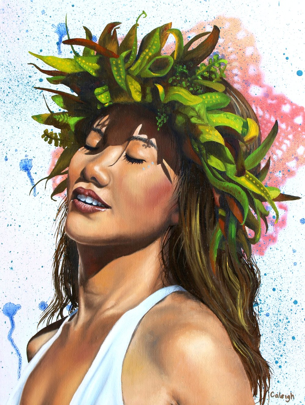 polynesian goddess oil painting