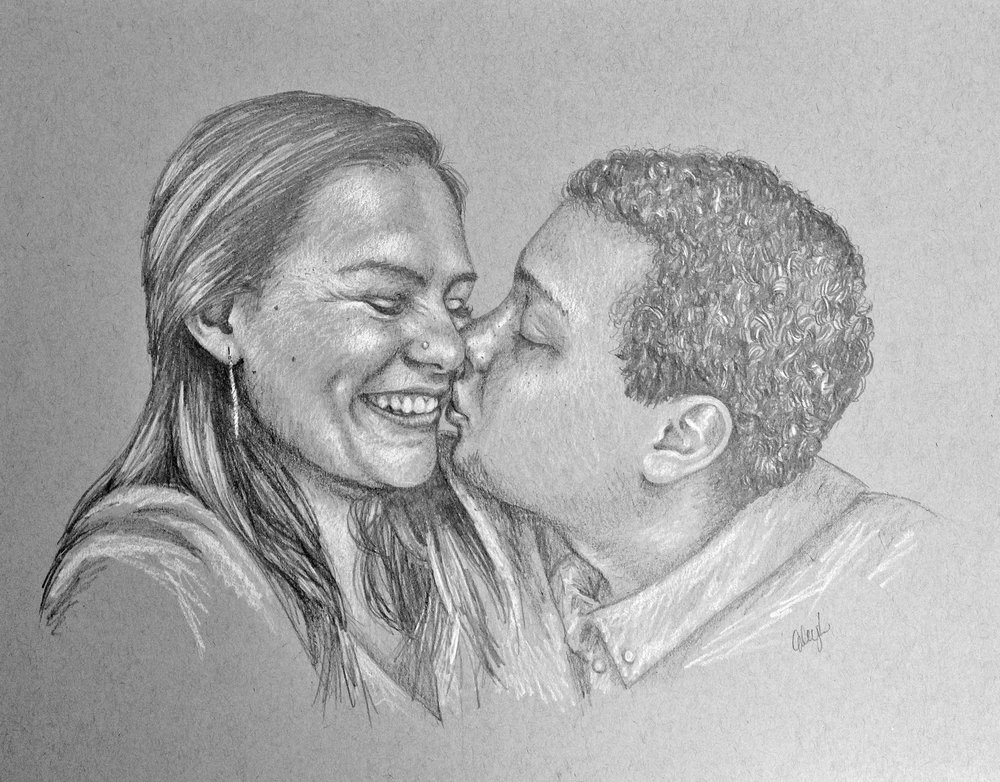 romantic couple portrait drawing