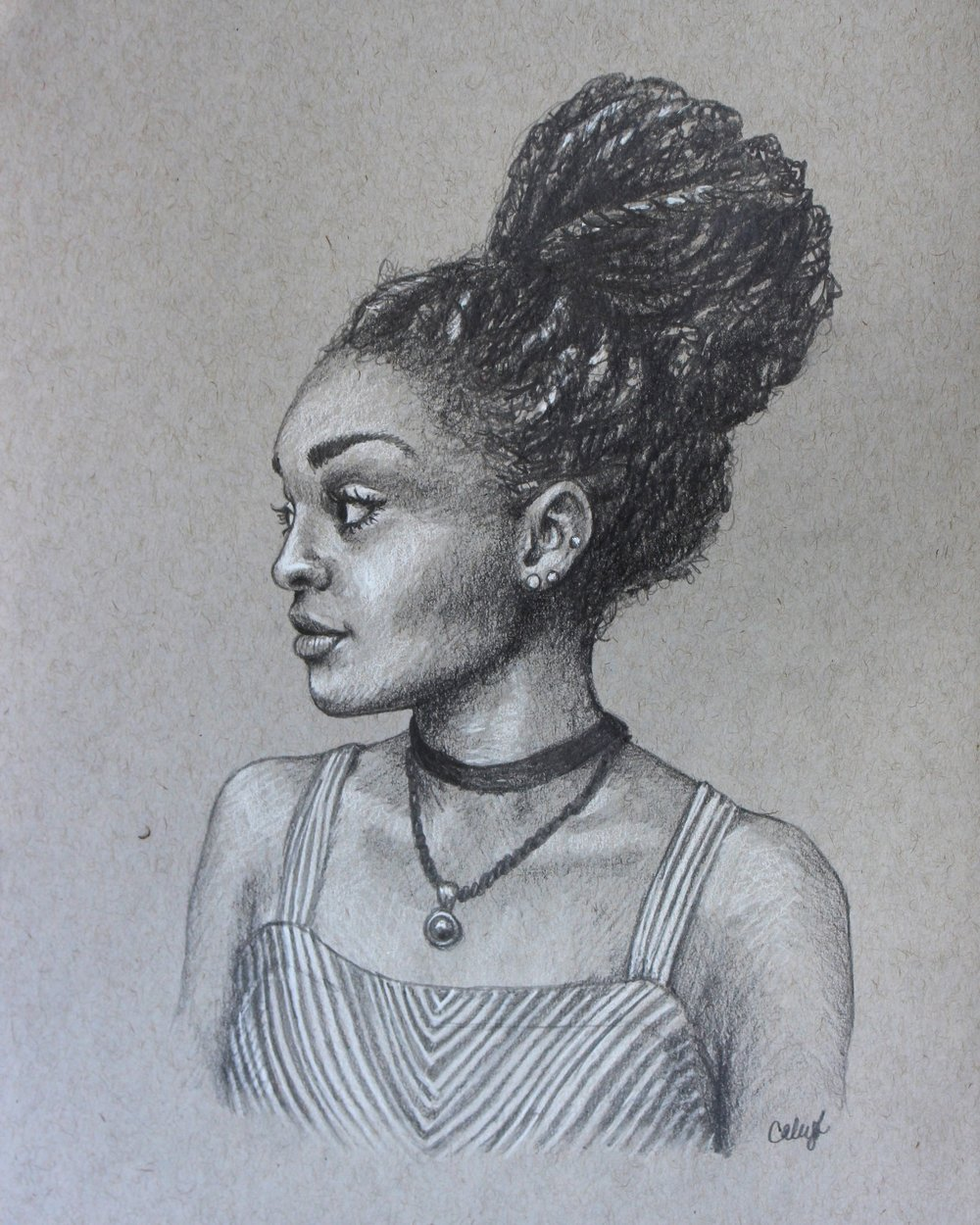 custom portrait drawing of a young black woman