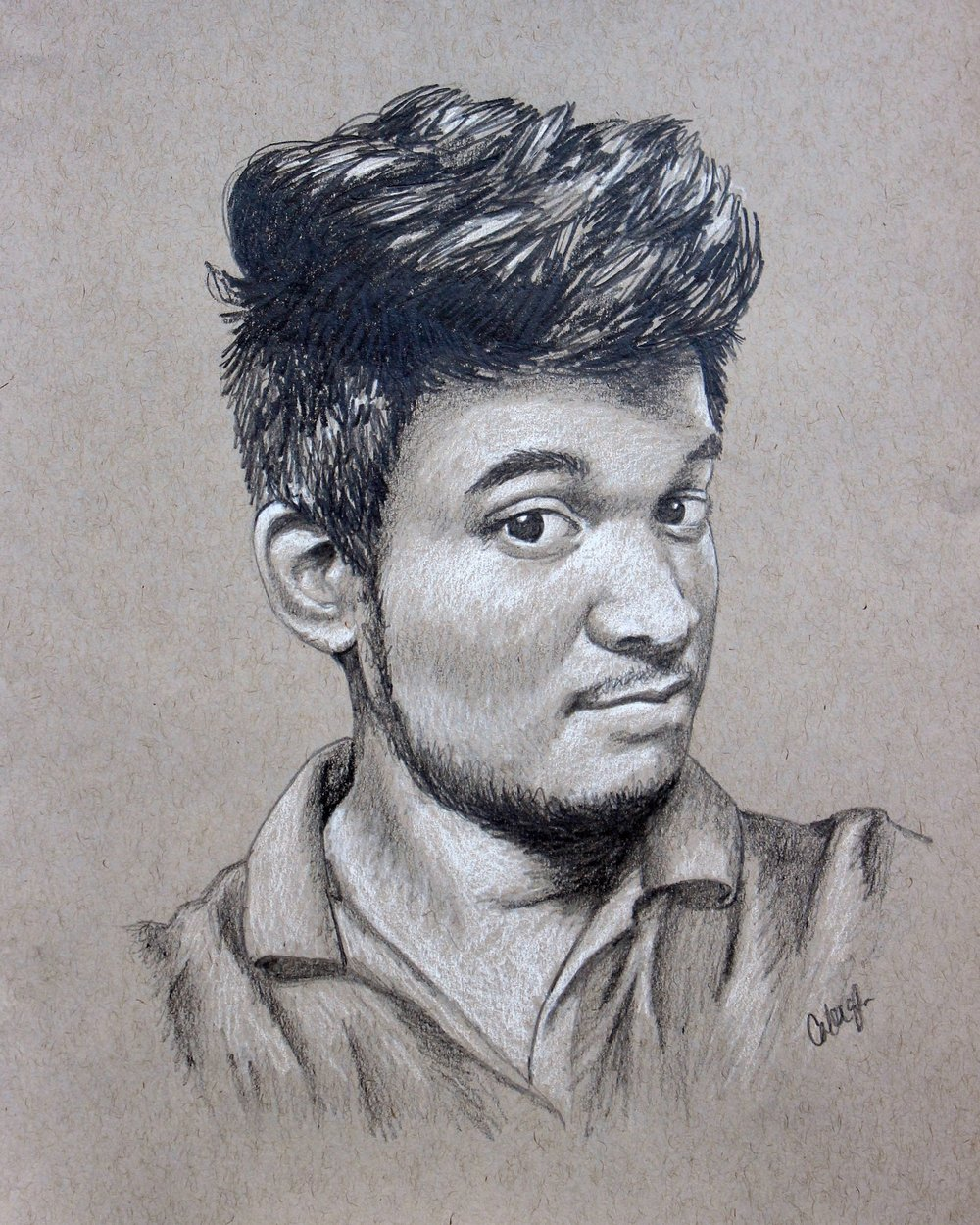 custom portrait drawing of a young Arab man