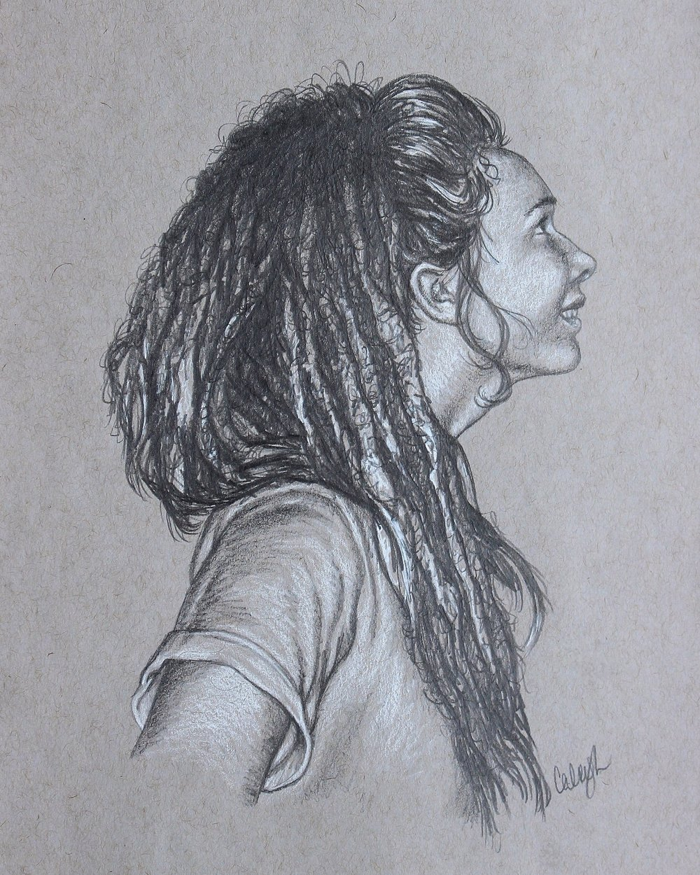 custom portrait drawing of a young dreadlocked girl