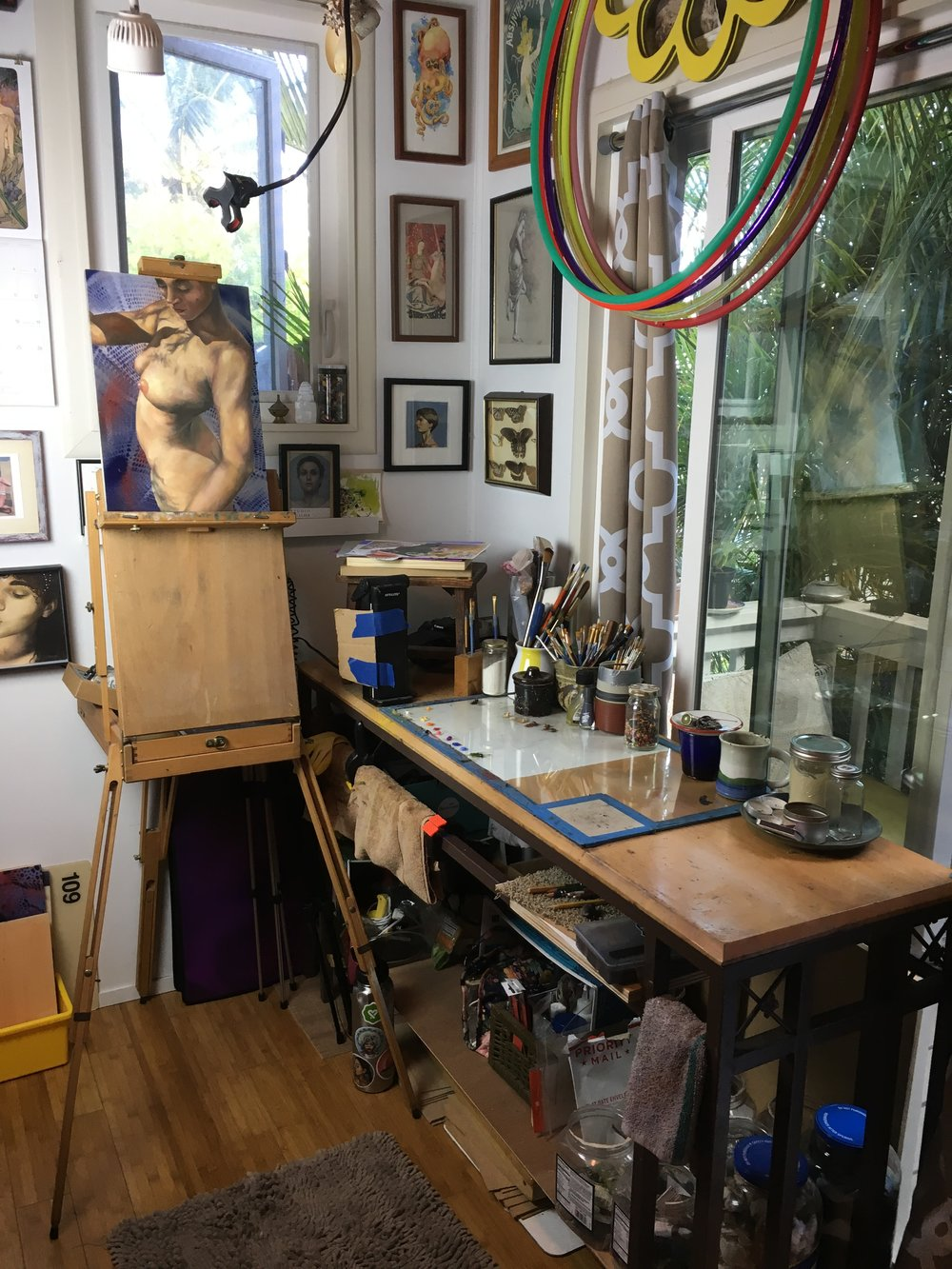 This where the magic happens! I prefer a standing easel for pretty much all my art-making.