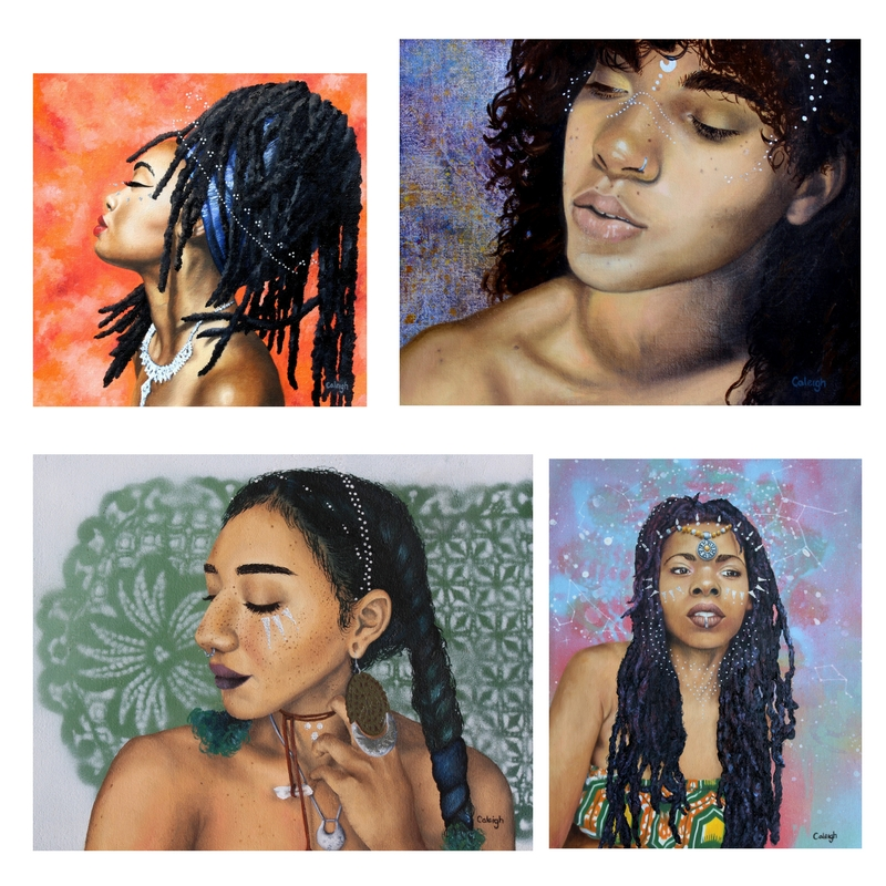 bohemian goddess oil portraits