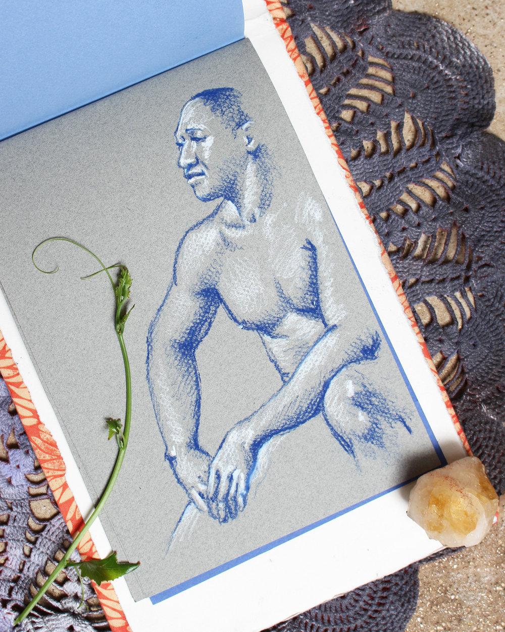 life drawing of black man