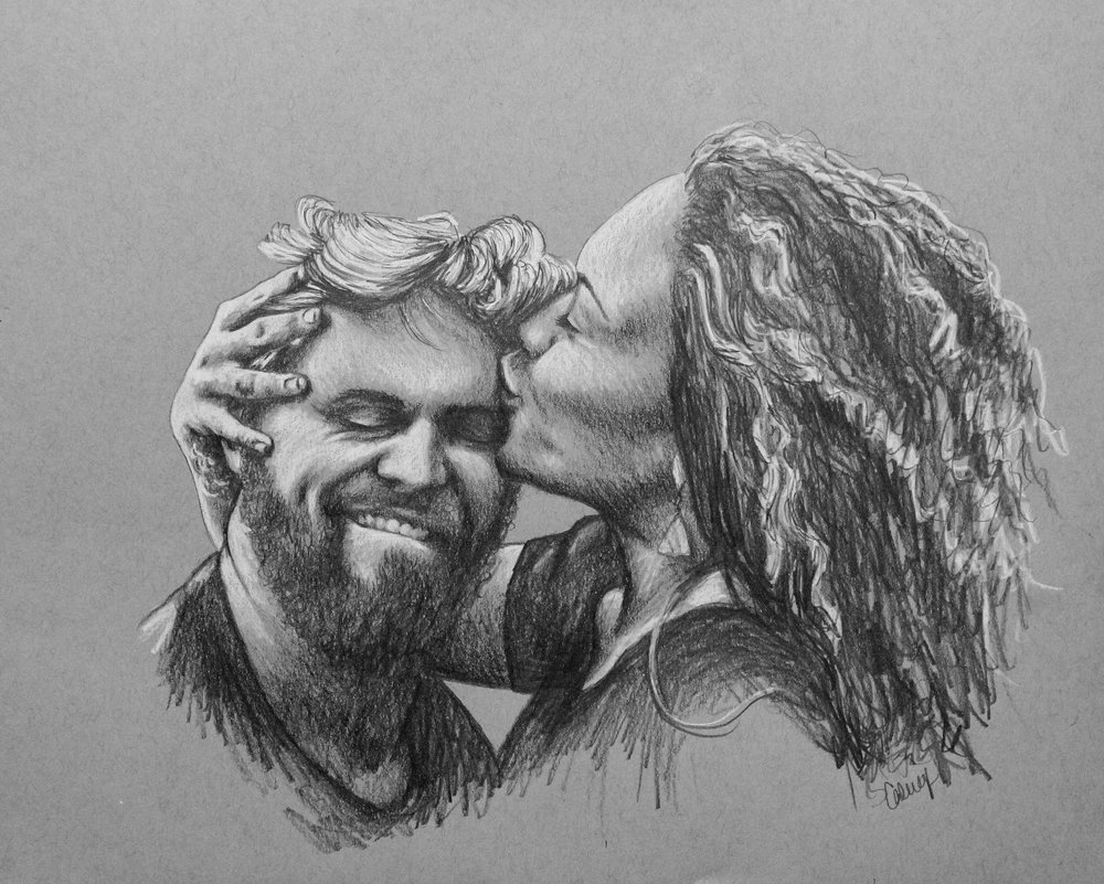 portrait drawing of a hawaiian couple