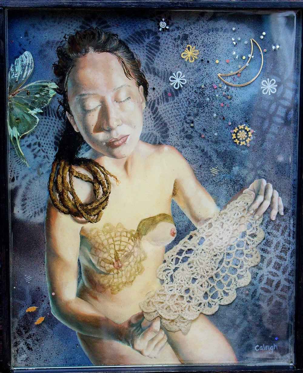 oil painting of dreadlock girl