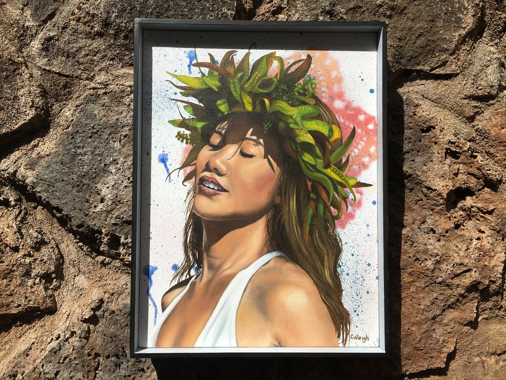 painting of a hawaiian woman
