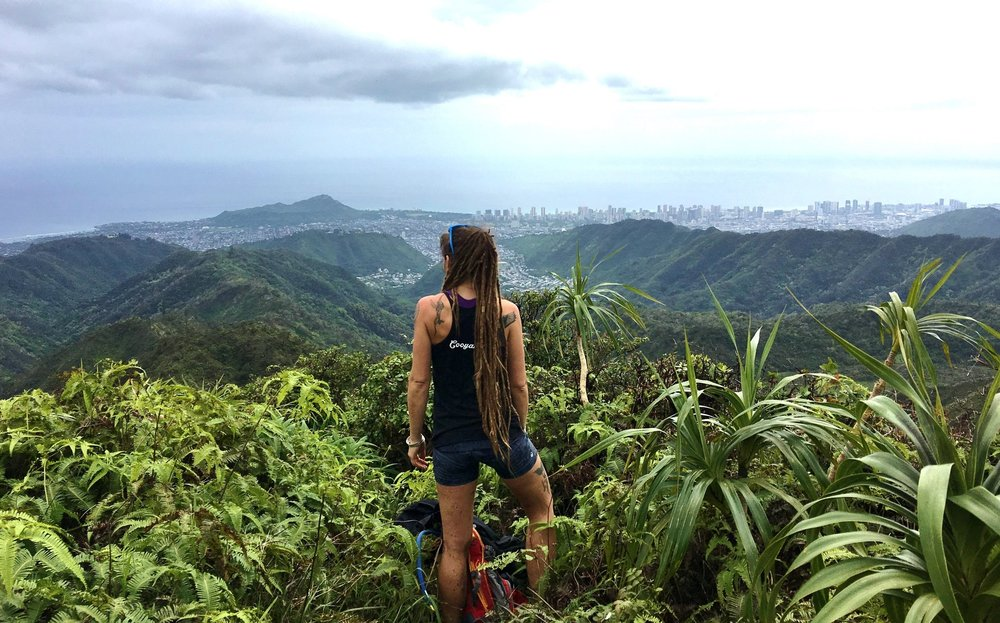 hawaii artist on a hike