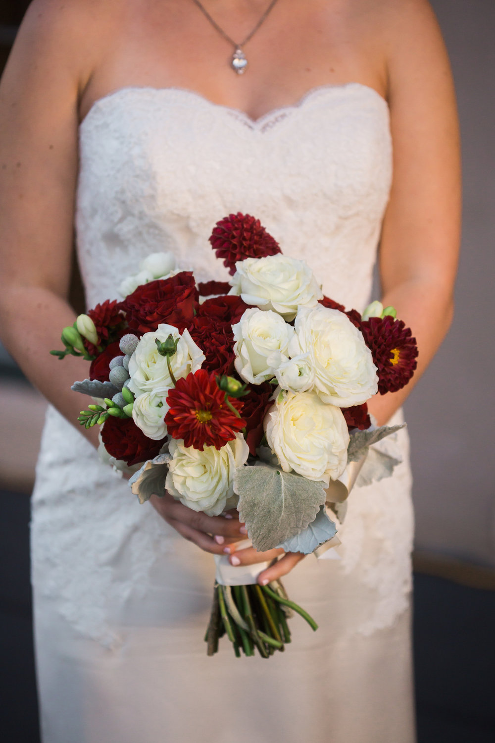Wedding at the Trolley Station in Galveston, TX | Houston and Galveston Wedding Planners | Marsala and White bouquet