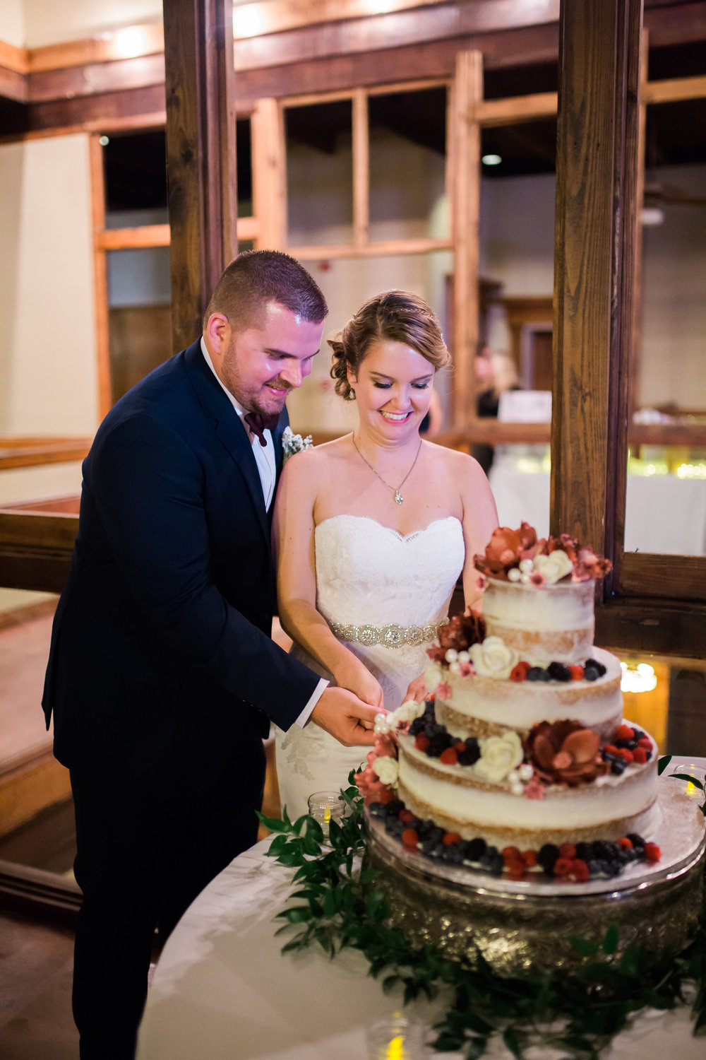 Wedding at the Trolley Station in Galveston, TX | Houston and Galveston Wedding Planners | Naked Cake with fresh berries