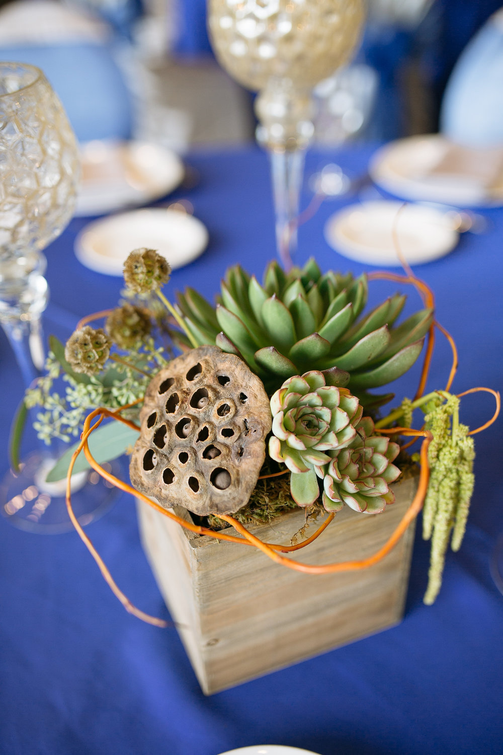 Woodland Rustic Wedding Centerpieces with Succulents