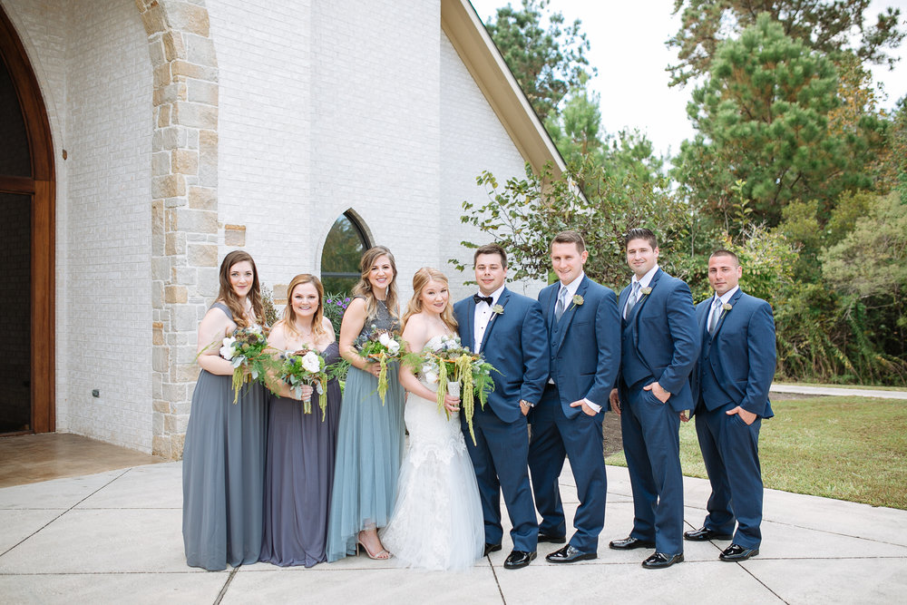 Wedding Party Photos | Blue and Grey Wedding Ideas | Houston Weddings