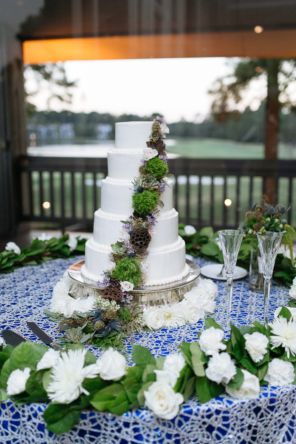 Wedding Cake with Greenery and Succulents | Houston Weddings