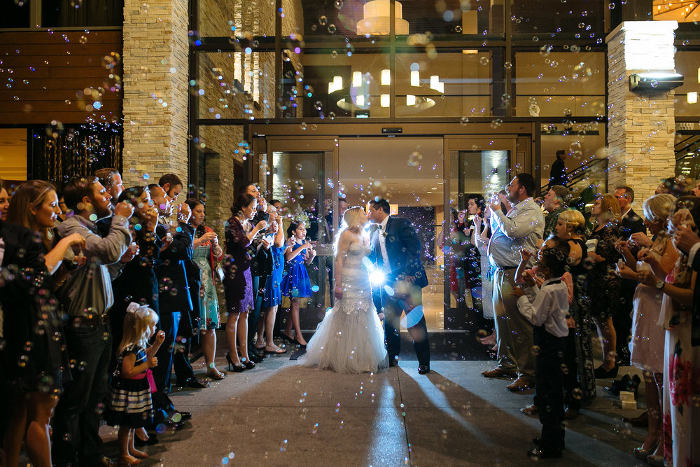 Bubble Exit | Woodlands Wedding