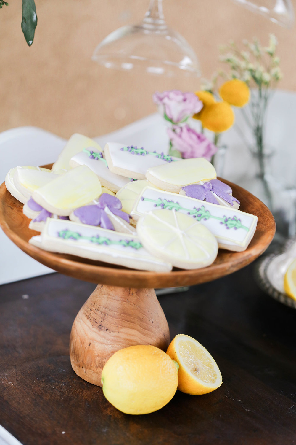 Bridal Shower Inspiration | Lavender and Lemon | Sugar Cookies shaped like Lemons
