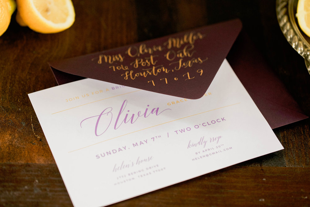 Bridal Shower Ideas | Purple and Yellow | Purple Invitations