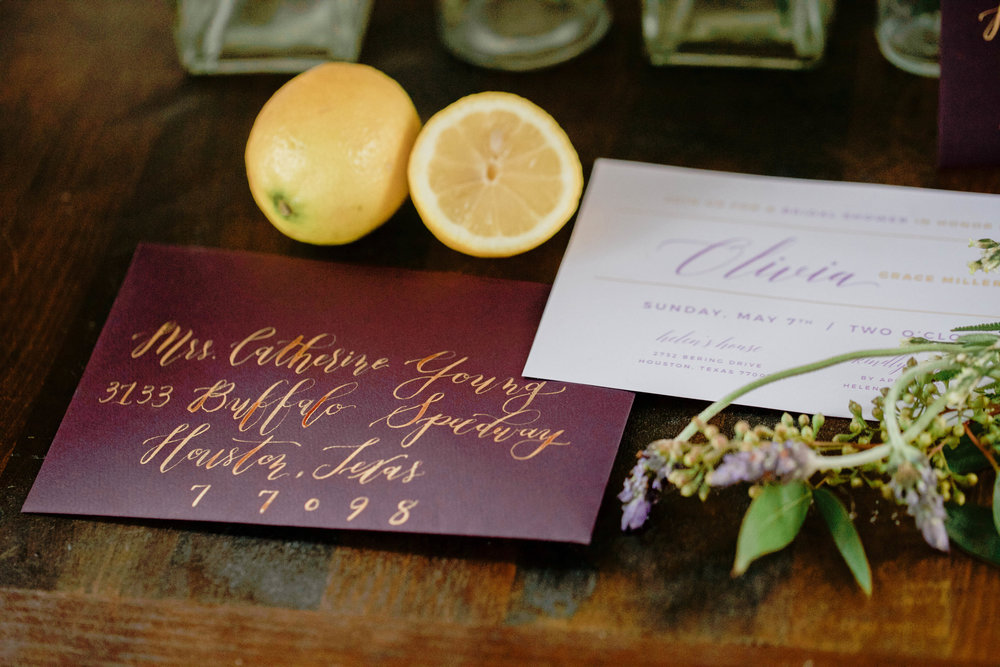 Purple and Yellow Invitation | Bridal Shower Ideas | Lavender and Lemon