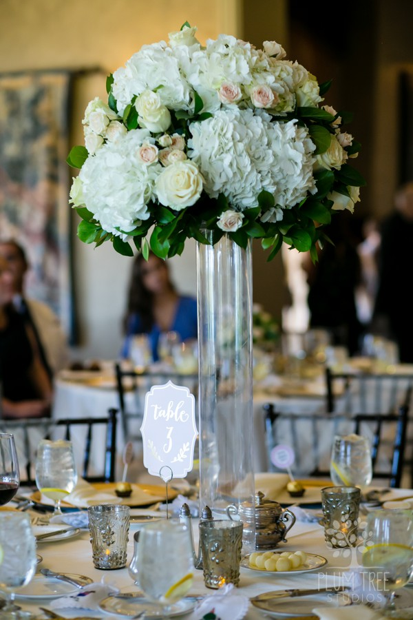 White and Ivory Wedding Flowers | Tall Wedding Arrangement | Houston