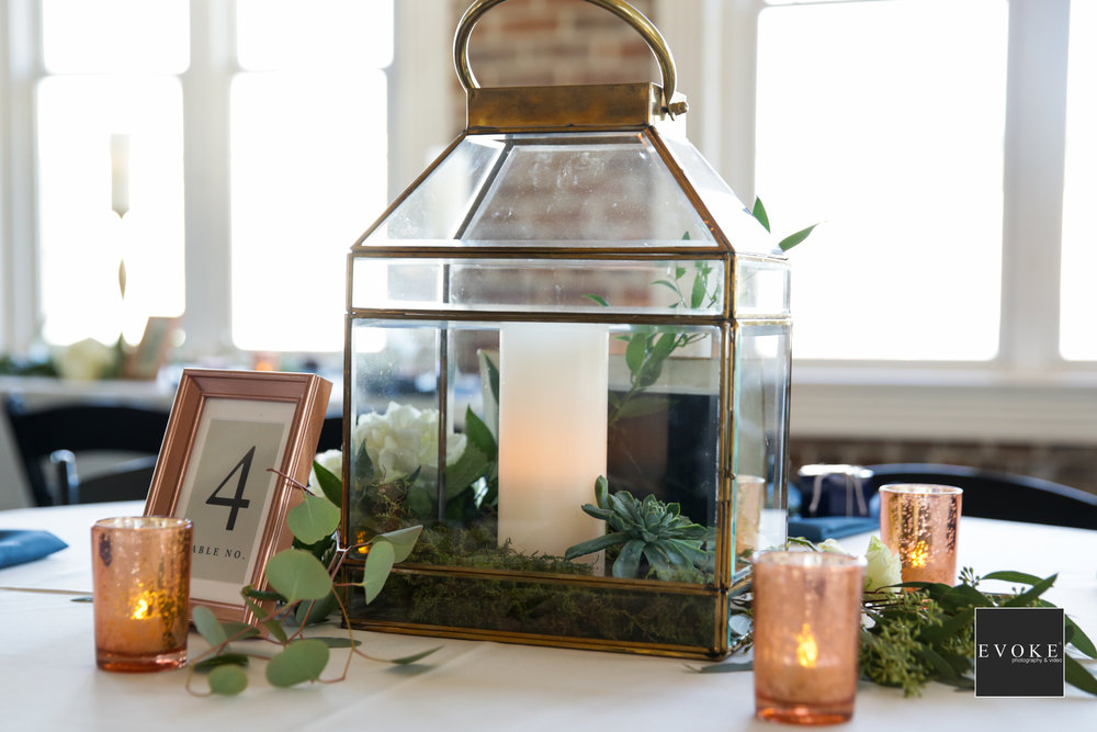 Modern, Industrial Wedding Centerpieces | Copper Lantern