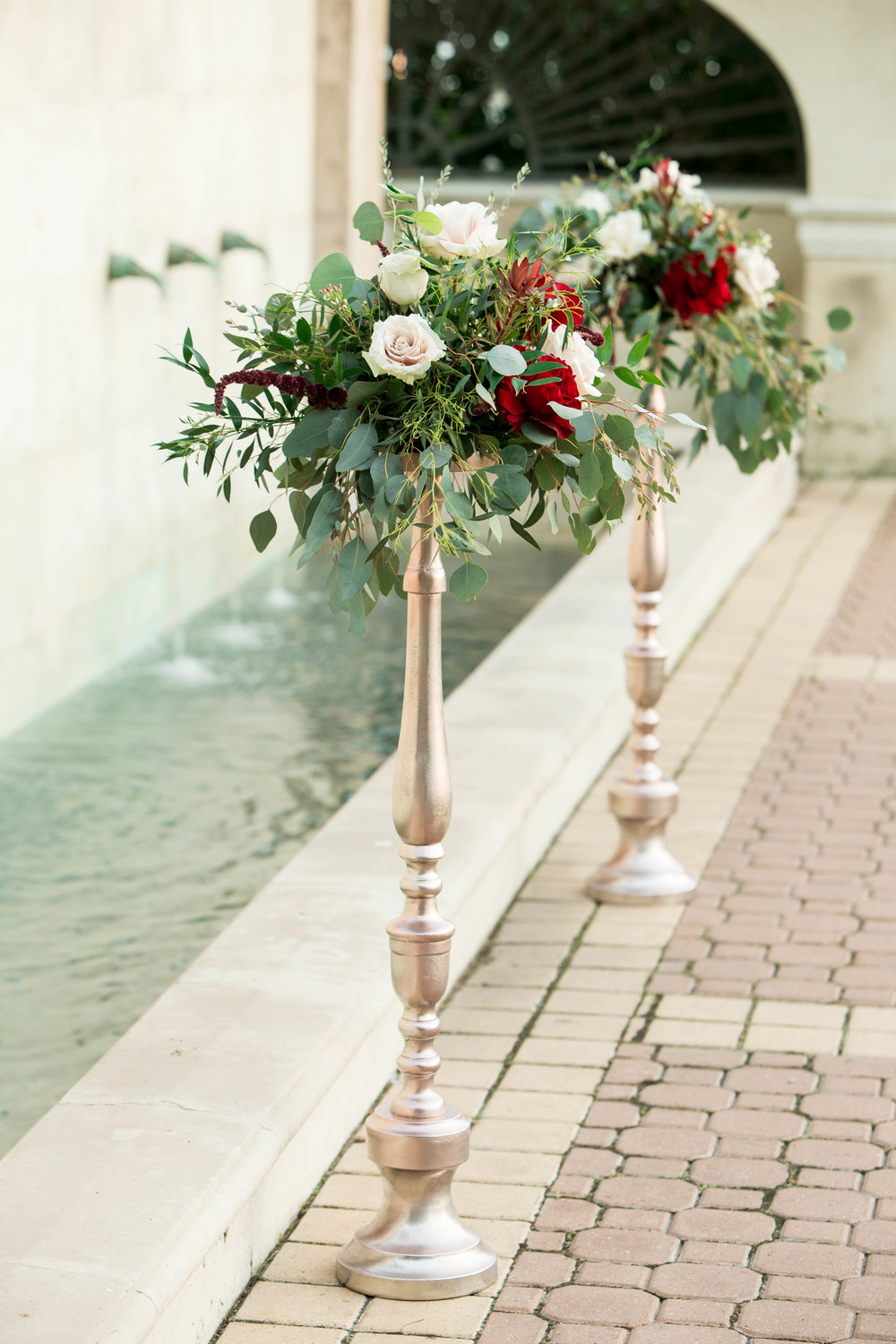 Burgundy Marsala and Rose Gold Ceremony decor