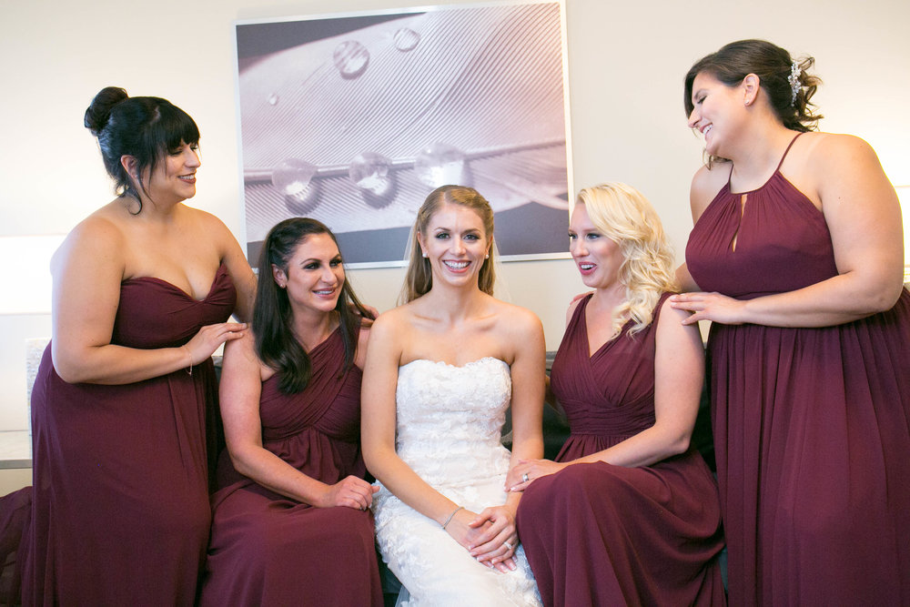 Marsala and Rose Gold Wedding | Bridal Party photos