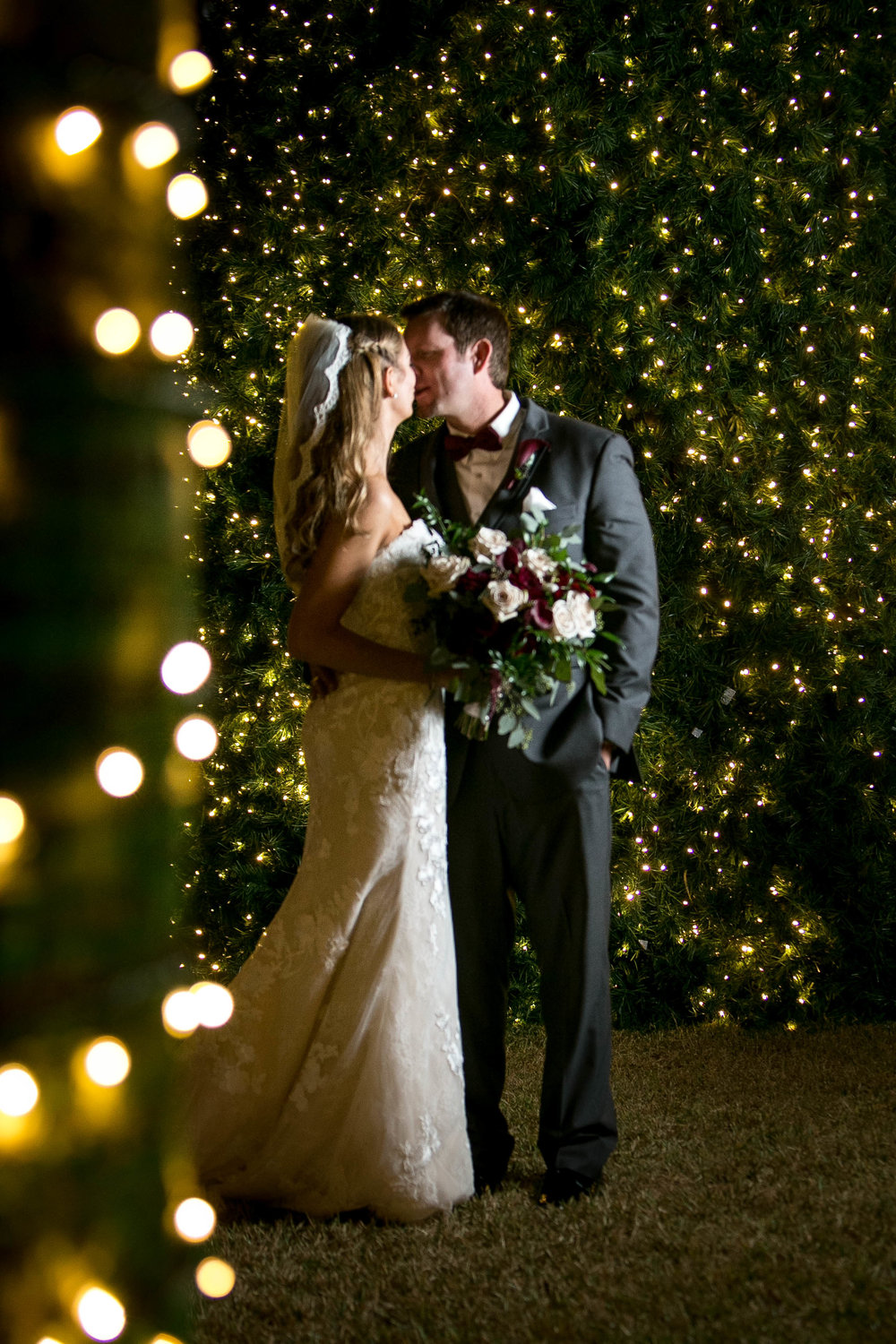 Winter Wedding Photos | Christmas Lights
