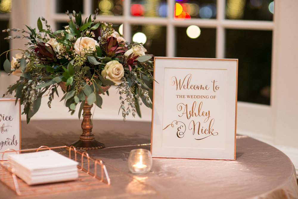 Welcome Table Decor | Rose Gold Wedding
