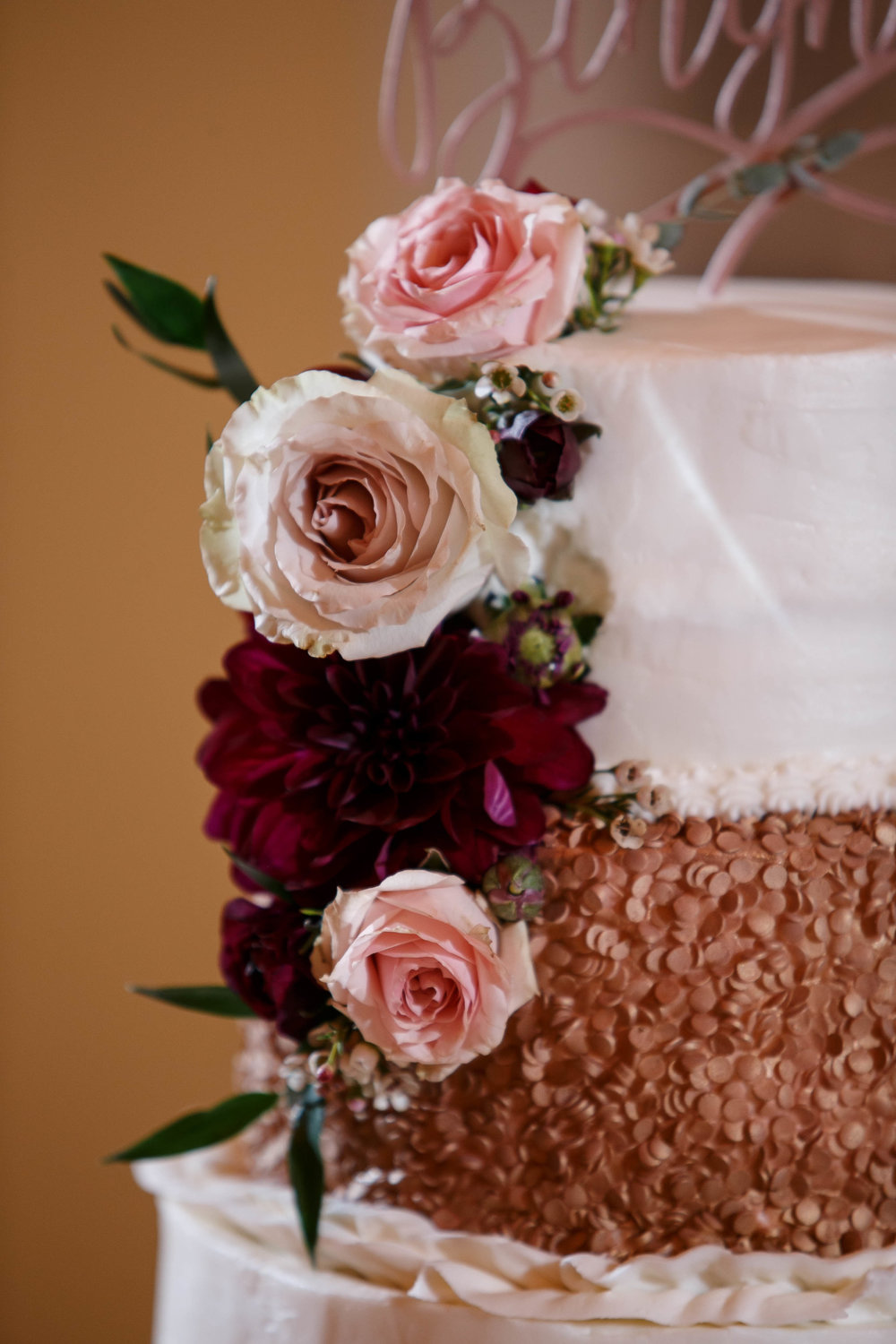 Rose Gold Wedding Cake | Galveston Cake Bakers