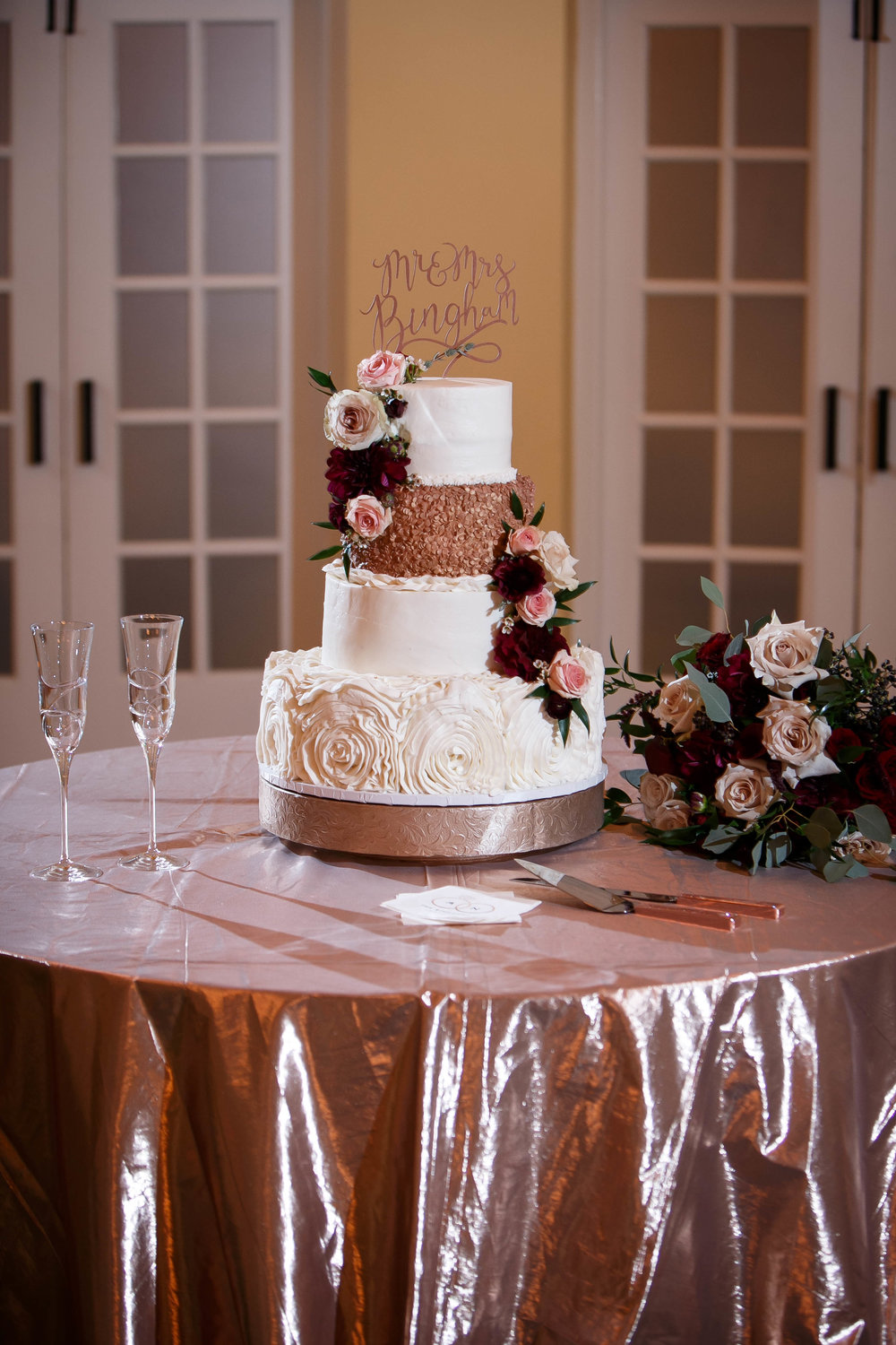 Rose Gold Wedding Cake with Fresh Flowers