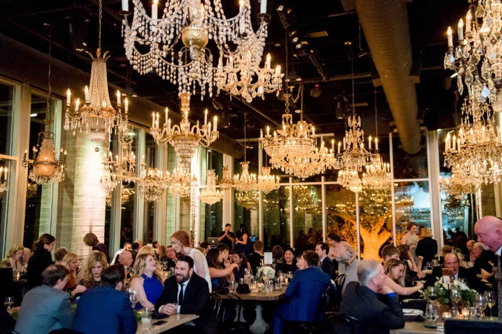 Modern Wedding Reception with tons of chandeliers