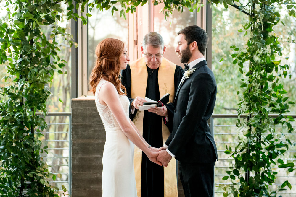 Wedding at the Dunlavy Houston | Greenery arch for altar