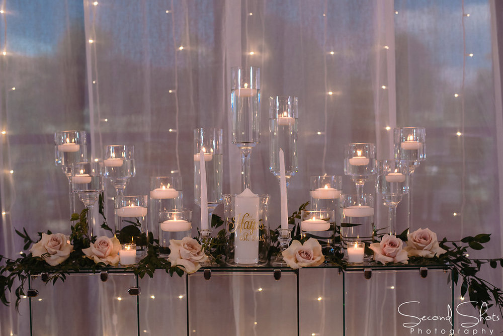 Candle and White Floral Altar Decor| Noah's Event Venue