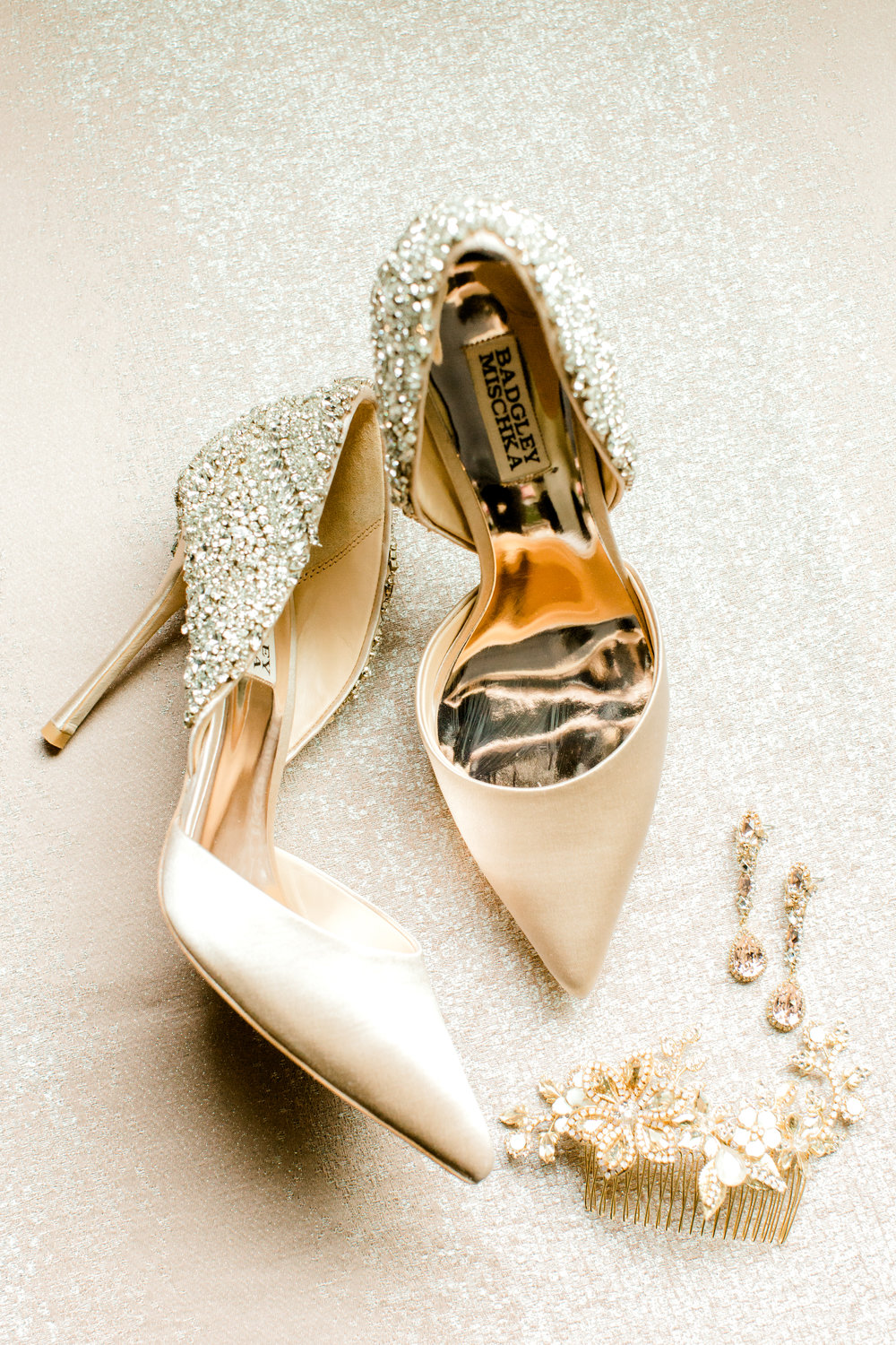 Bagdley Mischka wedding shoes | Stephen Grace Atelier in the Woodlands
