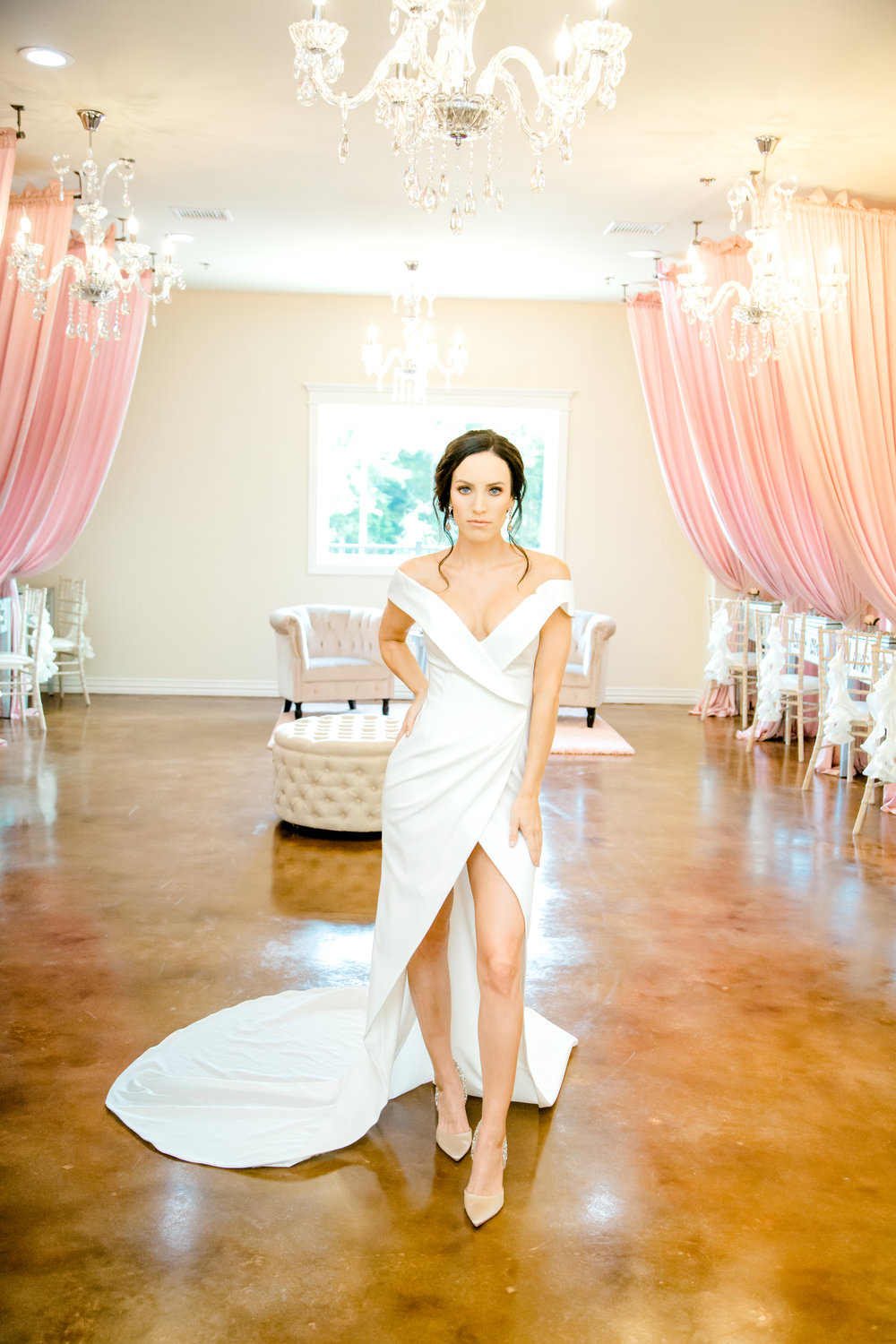Sleek and sexy wedding dress from Stephen Grace Atelier | Hair and Makeup by Kiss and makeup Houston