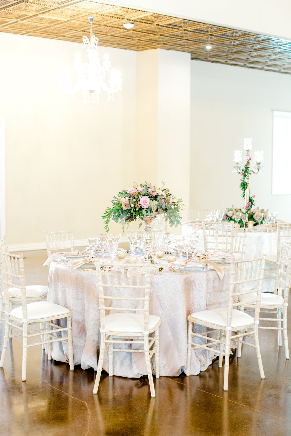 Mauve and White wedding at Southern Lace Estates | Candelabra wedding decor