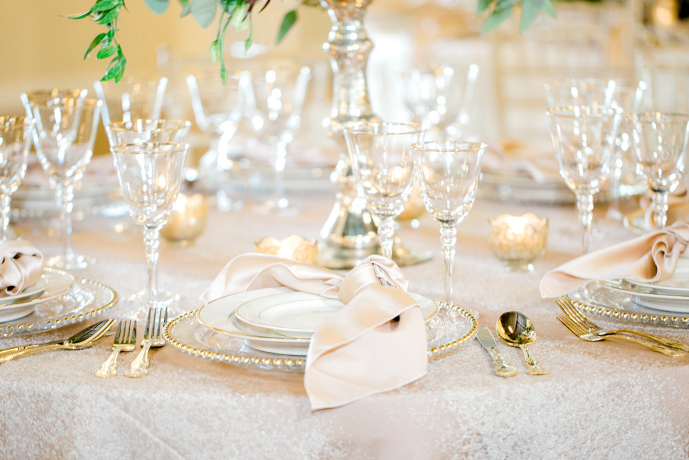 Gold flatware, gold beaded chargers | Ivory and gold wedding | Houston Weddings at Southern Lace Estates