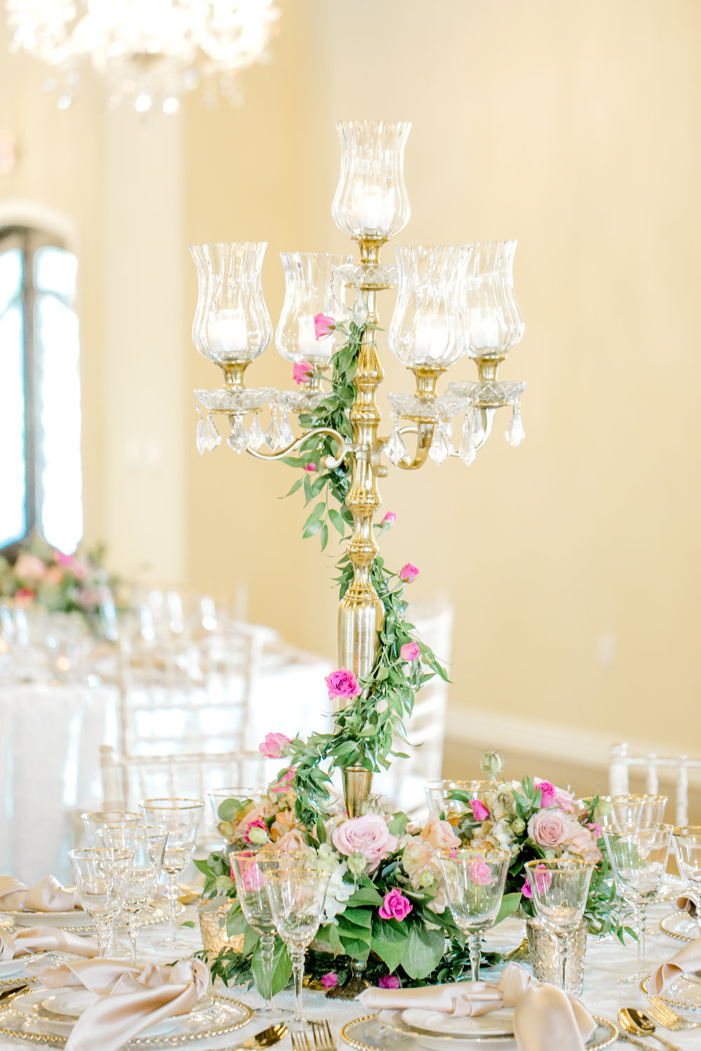 Gold Candelabra with greenery | Designed by Plan Our Day Wedding Planners Houston