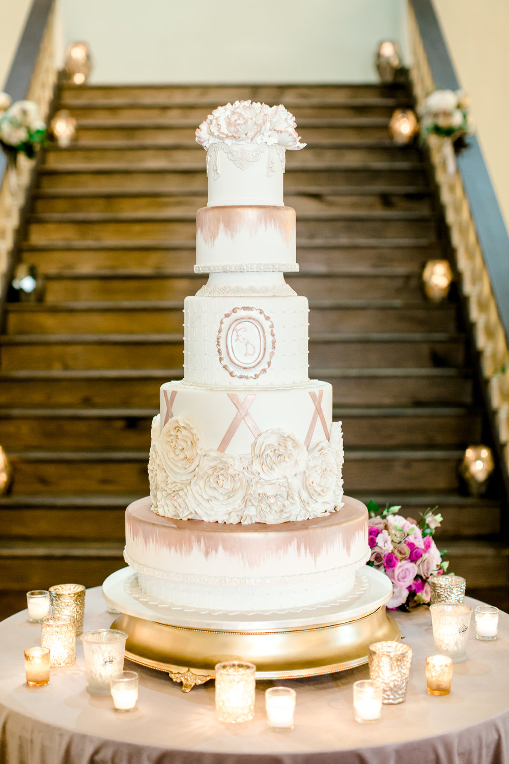 Ivory and Mauve cake by Edible Designs | Fondant with gold paint