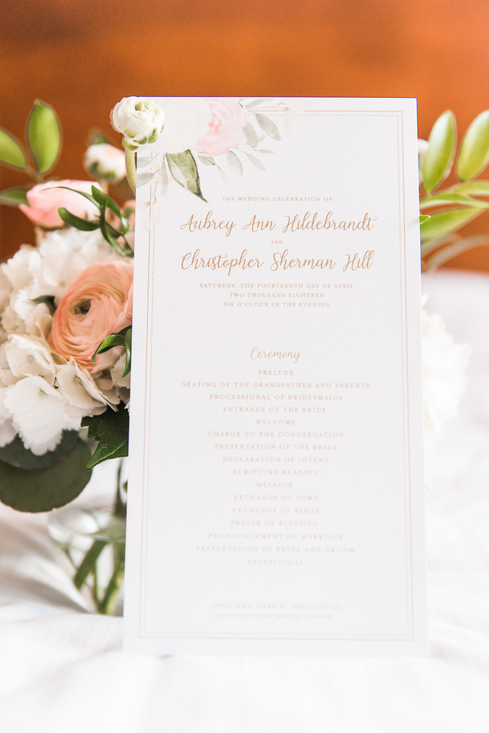 Modern Houston Wedding Venues | Ashton Gardens | Pink floral program