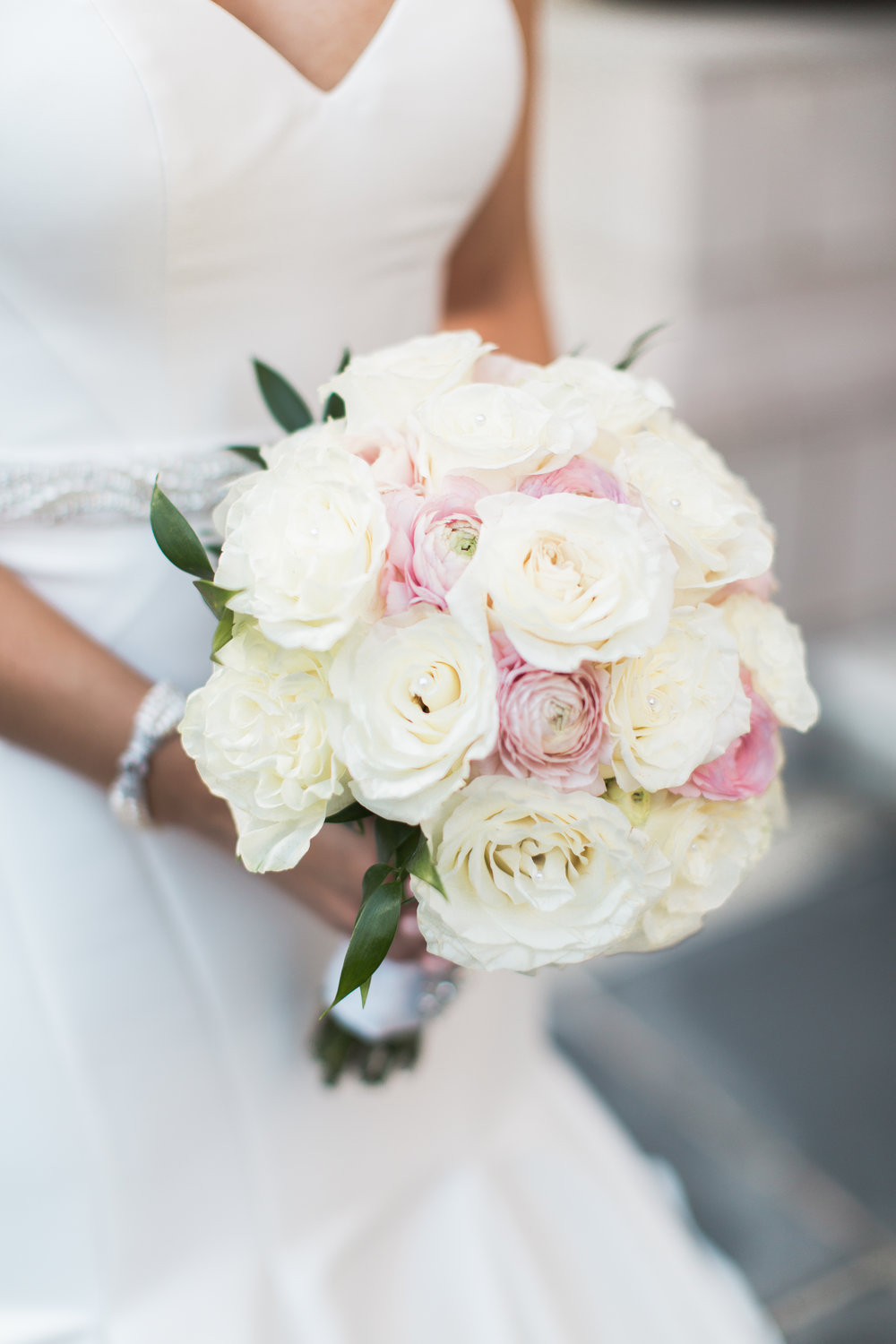 Blush and white Bridal bouquet, all roses