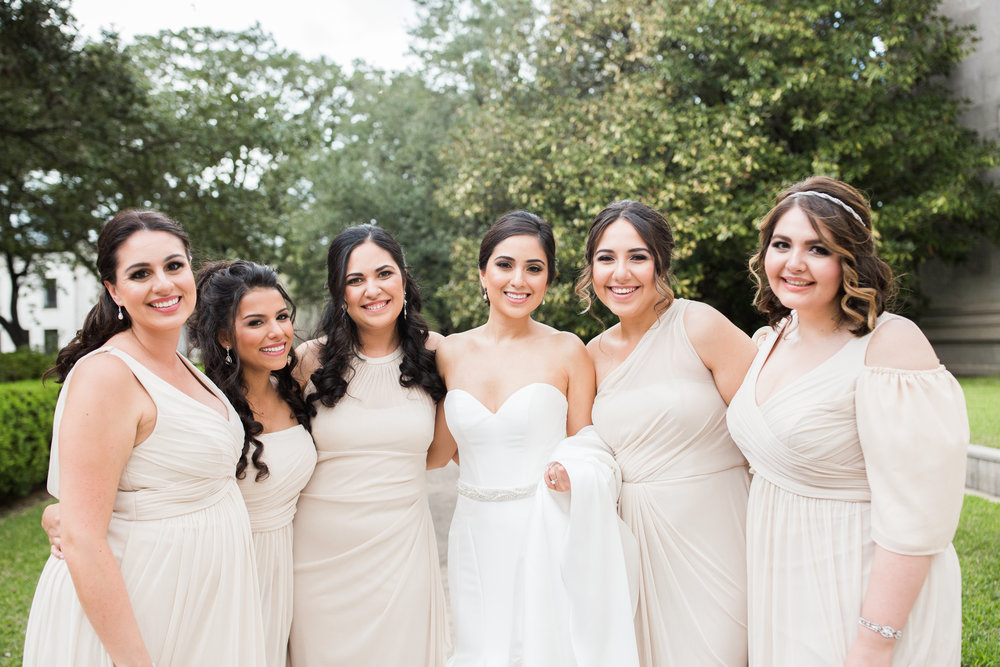 Beige, neutral bridesmaids dresses