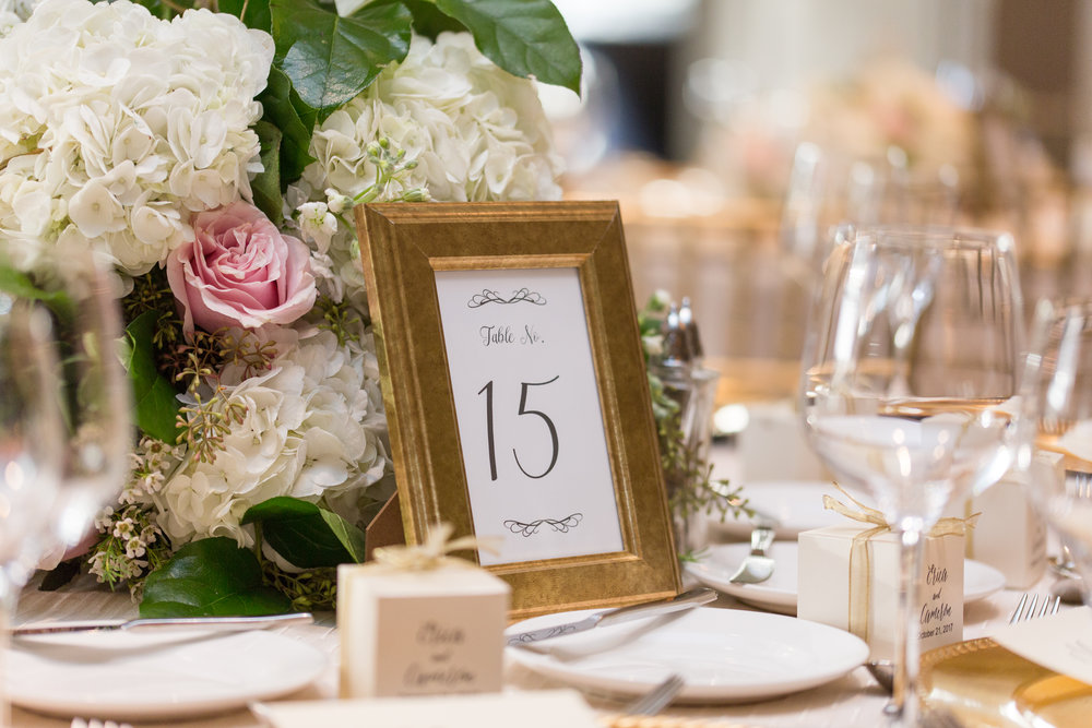 Blush and white floral centerpiece, grand ballroom at hotel zaza