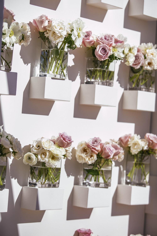White and blush floral arrangement backdrop