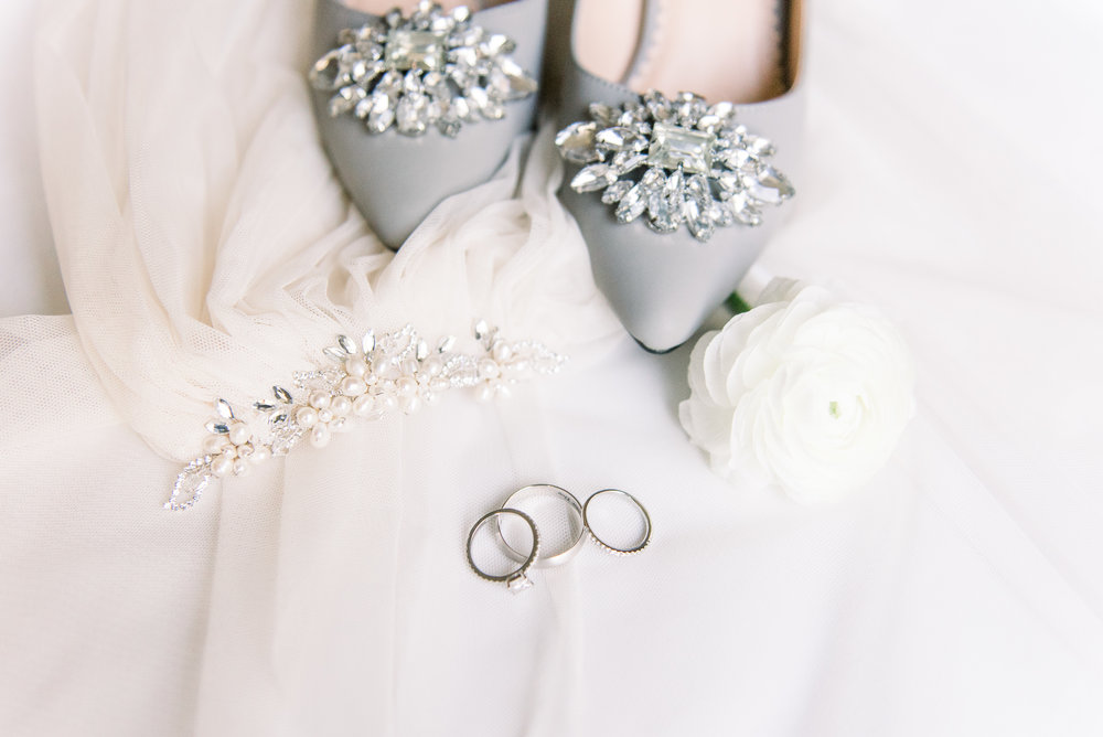 Grey wedding shoes, dress and rings
