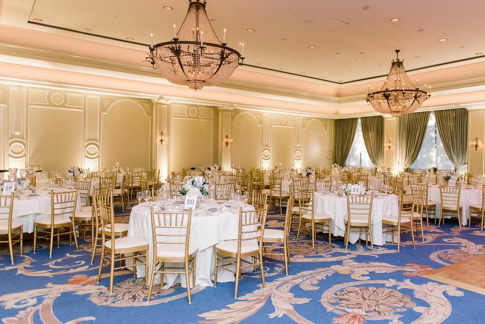 Blue and gold wedding reception| Houstonian Club Wedding