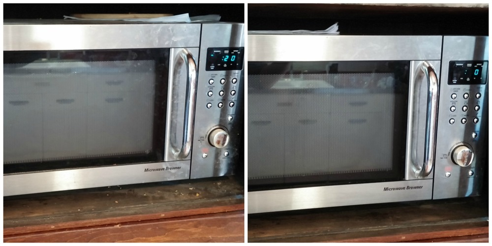 Before and after, front of microwave