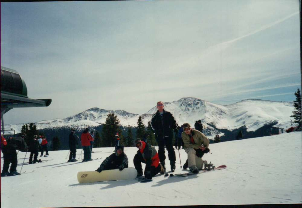 Here's Eric (on the right) snowboarding with his friends waaaay back in '98, before we'd even met, back when I thought snow angels were kinda crazy.   The series:    Personal Social Challenges    Day One    Group Run    Fail!
