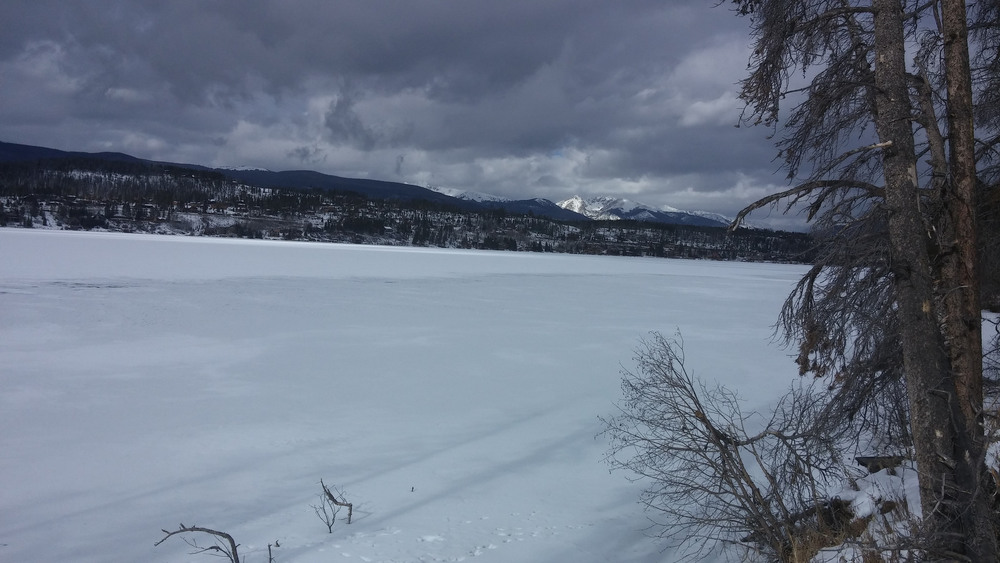 Shadow Mountain Lake, Colorado, all frozen over for winter