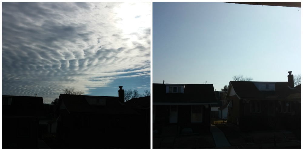 Beautiful clouds before my run (and solid gray clouds to the east). And nothing but sunny blue skies 30 minutes later.