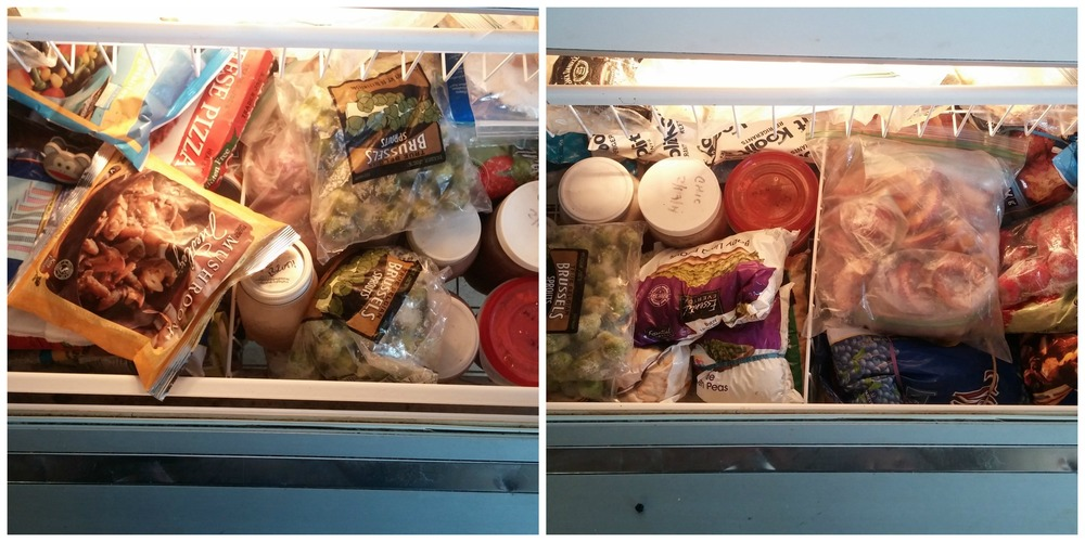 "Bottom of upstairs freezer drawer. I forgot to take a ""before"" pic of the top. There's still a lot in there, but it went from very messy to very full, but somewhat organized."